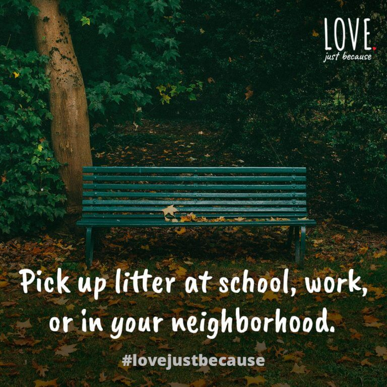 Pick up litter at school, work, or in your neighborhood